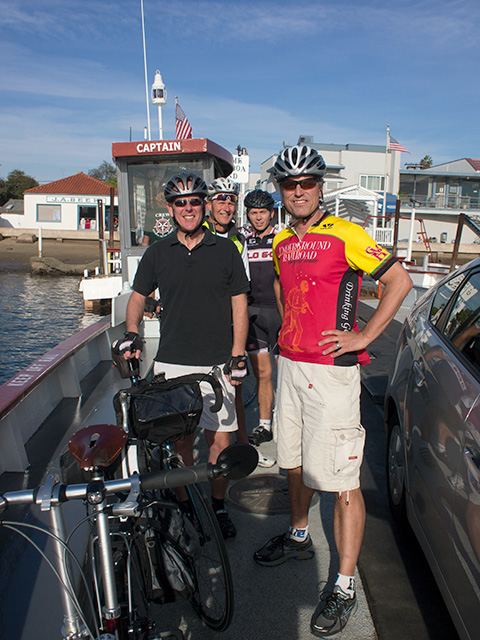 Matt O'Toole, Dan Murphy, David Huntsman with Jim Sayer on the Balboa Island ferry