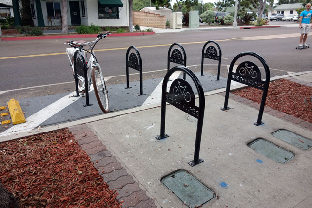 Carlsbad bike corral at Brand and Roosevelt