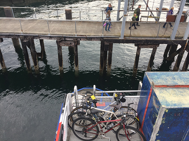 Departing Seattle – our bikes are loaded on the ferry